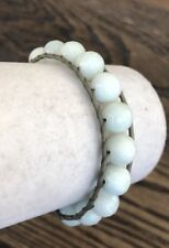 New Auth Chan Luu Amazonite Single Wrap Bracelet on Grey Leather