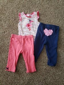 Baby Girl Clothes Size 9 Months,  Flamingo Bodysuit,  6-9 Month Outfit