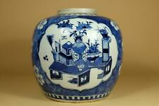 👀19th Antique Chinese Blue And White Porcelain Jar.