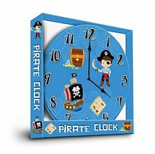 PIRATE WALL HANGING CHILDREN'S CLOCK - BLUE (BEDROOM / NURSERY ROUND CLOCK)