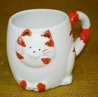 KITTY CAT KITTEN COFFEE MUG - 3D Relief Sculpture Orange Stripe Tabby Cat