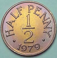 1979 GUERNSEY 1/2 HALF PENNY PROOF CHOICE TONED BU GEM STRIKING COLOR UNC (DR)