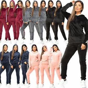 Womens Side Stripe Jogging Bottom Loungewear Velvet Velour 2Pc Hooded Tracksuit