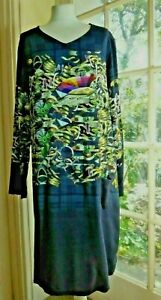 bnwot AVENTURES DES TOILES Graphic Print Navy Dress~Pocket~100% Viscose~40~UK 12
