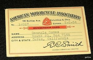 AMERICAN MOTORCYCLE ASSOCIATION 1954 AMA MEMBERSHIP CARD CERES CALIFORNIA RACING