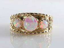 LARGE 9CT 9K GOLD FIERY OPAL BAND GYPSY TRILOG VICTORIAN INS RING FREE RESIZE