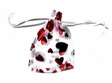100 CLEAR RED HEART ORGANZA SATIN WEDDING GIFT POUCH DRAWSTRING BAGS 90x80mm