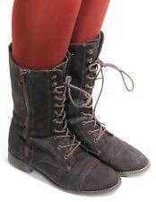 Schnürschuhe Schnürstiefelette Vintage Blogger Hipster Leder Stiefel Zipper 37