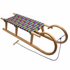 Hörnerrodel 100cm Schlitten Holzschlitten mit Kunstfasern Regenbogen Rodel Holz