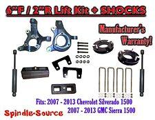 "2007 - 13 Chevy Silverado GMC Sierra 1500 6"" / 2"" Spindle FULL LIFT KIT + SHOCKS"