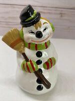 Vintage 1950s Kitsch Ceramic Snowman Figurine- Hand Painted Alberta Mold