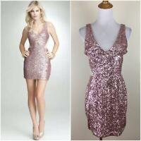 BEBE Womens Medium Light Pink Beige Mesh Cut Out Sequin Embellished JEAN Dress