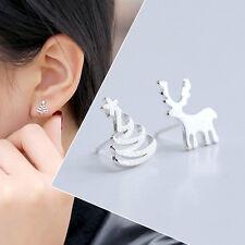 Stylish Women Cute Deer Christmas Tree Silver Plated Ear Stud Pierced Earrings