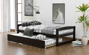 Wooden Twin Size Daybed with Pull-out Twin Size Trundle Sleepover Captain's Bed