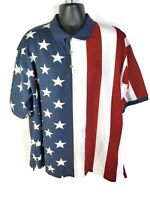 Cotton Traders Sport Mens American Flag Casual Polo Shirt - 2XL