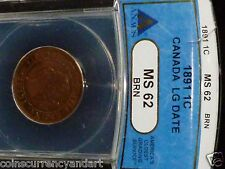1891 Canada One cent -LARGE DATE  MS 62 -  ANACS graded  scarce coin