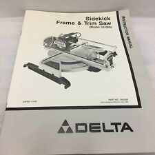 Delta Sidekick Frame and Trim Saw Instruction Manual Only 33-060