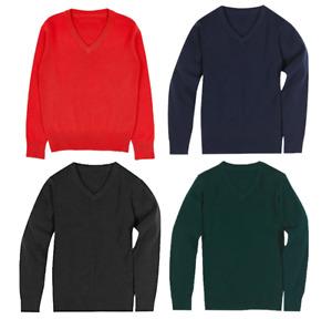 Boys Girls V Neck Knitted School Jumper Long Sleeve Unisex School Uniform 3-18