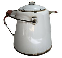 """Vintage White Enamel Water Milk Pitcher W Red Trim And Wood Handle 9""""x10"""""""