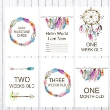 Baby Milestone Cards, 4x6 Photo Prop, 37 cards, Dreamcatcher, Feathers, Boho