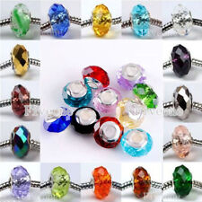 1 glass faceted European charm bracelet bead crystal