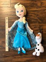 "16"" Disney FROZEN Princess Elsa Plush Doll 8"" Olaf Set - Used - F"