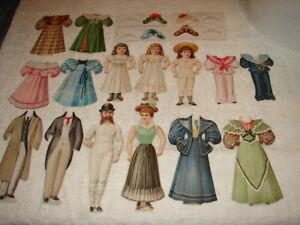 Wonderful Group of Antique Paper Dolls 1894 Hood's Sarsaparilla Pills London