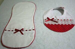Custom Burp Cloth and Bib for Girls Red and White Polka Dot Set