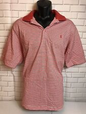 RALPH LAUREN Large POLO GOLF PIMA COTTON SHORT SLEEVE SHIRT STRIPES RED Soft $79