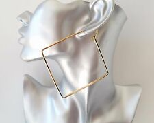 "Stunning large plain gold tone square shape hoop earrings - NEW - 9cm - 3.5"""