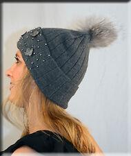 New Thinsulate Beaded Grey Beanie Hat Silver Fox Fur Pom Pom