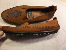 48698061687 Hush Puppies Women s Brown Leather Flats Shoes Moccasins w Embroidery Size   6M