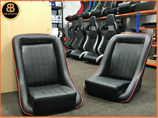 Pair BB1 RED Piping Classic Clubman Bucket Seats + Tilting Frames CLASSIC MINI