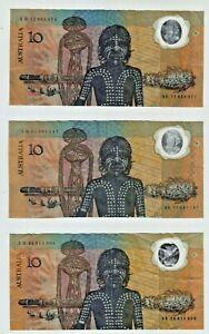 1988 Australia Bicentenary Johnston/Fraser $10 Polymer Banknotes - Lot of 3