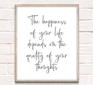 Happiness Thoughts Typography Print Poster Family Love Unframed Home Quote Gift