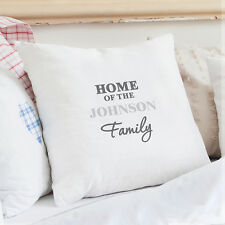 Personalised Cotton Cushion Cover Wedding Gift Home Family Birthday Gifts