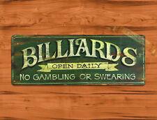 "TIN SIGN ""Billiards Open Daily"" Recreational Sport Pool Mancave Wall Decor"