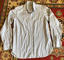 "1012af882 TED BAKER BLUES   WHITE STRIPE LONG SLEEVE SHIRT 15.5"" 43"" SIZE 3 SLIM"