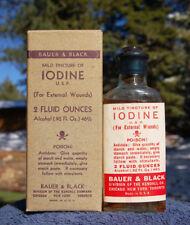 Antique BAUER & BLACK poison bottle w/ LABEL & CONTENTS, in BOX = RARE !!!