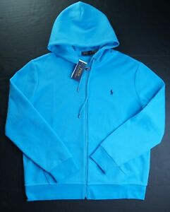 POLO RALPH LAUREN Men's Turquoise Blue Double Knit Full Zip Hoodie NEW NWT