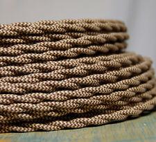 Tuch Bedeckt Verdreht Draht - Brown / Hellbraun Muster, Vintage Stil Stoff Lampe