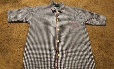 Polo Ralph Lauren Men Medium Pajama Top Sleep Shirt Blue White Check Short Sleev
