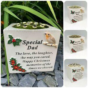 Christmas Robin Memorial Flower Vase Grave Plaque Tribute Rose Bowl Xmas Garden