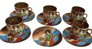Vintage Japanese 5 Tea Cups 6 Saucers Satsuma Gilded Coffee Expresso Decorative