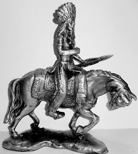 SOLID PEWTER, INDIAN ON HORSE FIGURINE/STATUE Weighing 540 grams 18cm  High