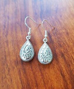 Mandala Teardrop Earrings Gypsy HIPPIE Boho Festival Indian Silver
