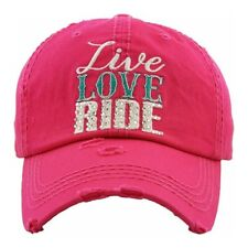 Live, Love, Ride embroidered vintage distressed baseball cap.
