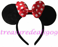 MINNIE MOUSE EARS HEADBAND BLACK WITH RED BOW PARTY FAVORS COSTUME MICKEY EAR