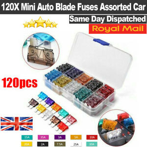 120X Mini Auto Blade Fuses Box Assorted Car Van Bike Fuse Set 5 10 15 20 25 30A