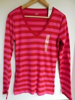 NWT GAP Women's Favorite LS V-Neck T-Shirt Red/Pink Stretch XS S M L XL MSRP $25